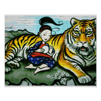 Oriental Lady and Tiger Graffiti Poster