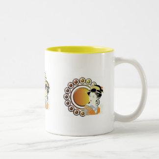 Oriental Lady in ginger Two-Tone Coffee Mug