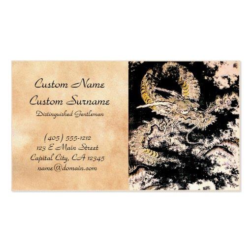 Oriental legendary mythical Dragon ink tattoo art Business Card Templates