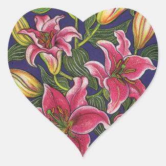 Oriental Lilies Heart Sticker
