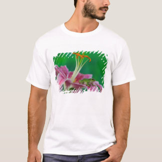 Oriental Lily and Pacific tree frog resting on T-Shirt