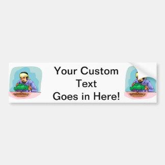 Oriental Man With Headband Trimming Bonsai Car Bumper Sticker