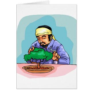 Oriental Man With Headband Trimming Bonsai Greeting Cards