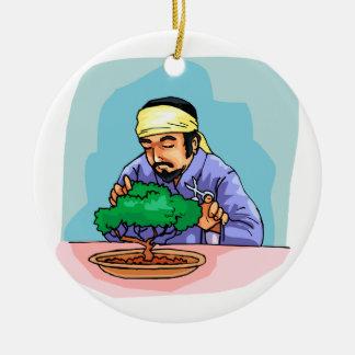 Oriental Man With Headband Trimming Bonsai Christmas Ornament
