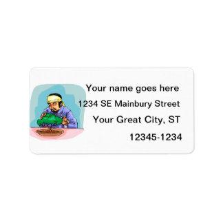 Oriental Man With Headband Trimming Bonsai Address Label
