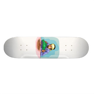 Oriental Man With Headband Trimming Bonsai Skateboards