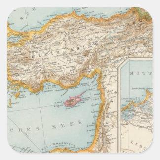 Oriental Mediterranean Map Square Sticker