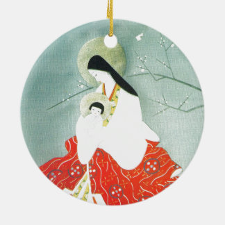 Oriental nativity scene, Mary and Jesus Christmas Ornament
