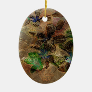 oriental old paper flower brown green floral christmas tree ornaments