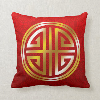 Oriental Ornamental Long Life Symbol red gold Throw Pillow