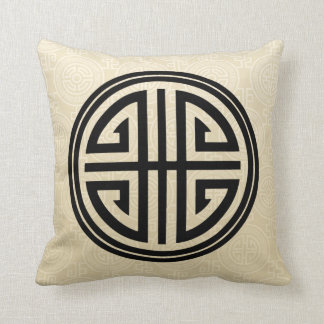 Oriental Ornamental Long Life Symbol | wheat black Cushion