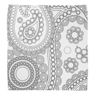 Oriental Persian Paisley, Dots - Black White Bandanas
