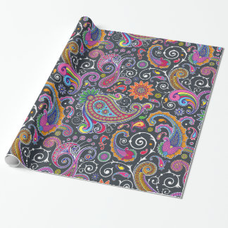 Oriental Persian Paisley - Green Pink Blue Yellow Wrapping Paper