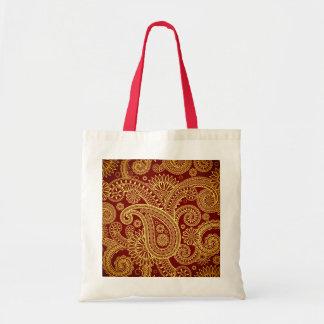 Oriental Persian Paisley, Swirls - Red Yellow Budget Tote Bag