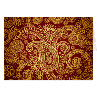 Oriental Persian Paisley, Swirls - Red Yellow Card