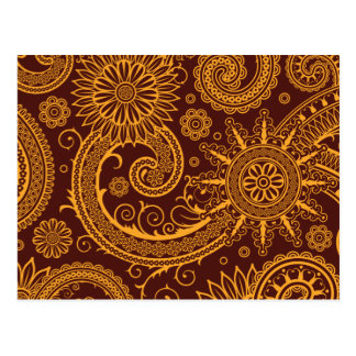 Oriental Persian Paisley, Swirls - Red Yellow Postcard