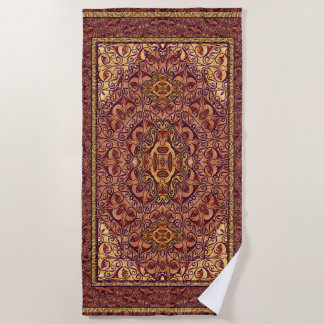 Oriental Persian Red Gold Beach Towel