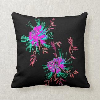 Oriental Pink Aqua Flowers Black Cushion