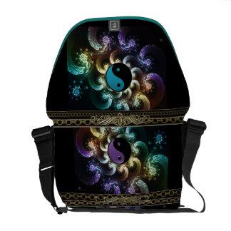 Oriental Rainbow Fractal Swirl with Yin-Yang Courier Bag