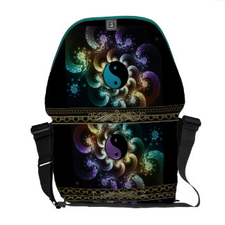 Oriental Rainbow Fractal Swirl with Yin-Yang Messenger Bag