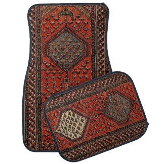 Oriental red runner pattern car mat