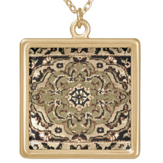 Oriental Rug Design Gold Plated Necklace
