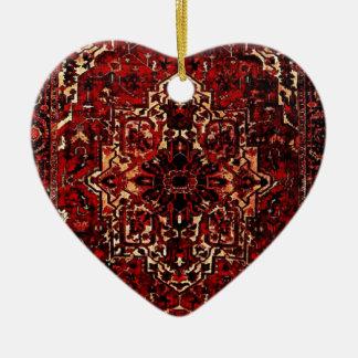 Oriental rug design in  dark red christmas ornament