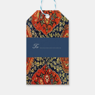 Oriental rug in blue&orange gift tags