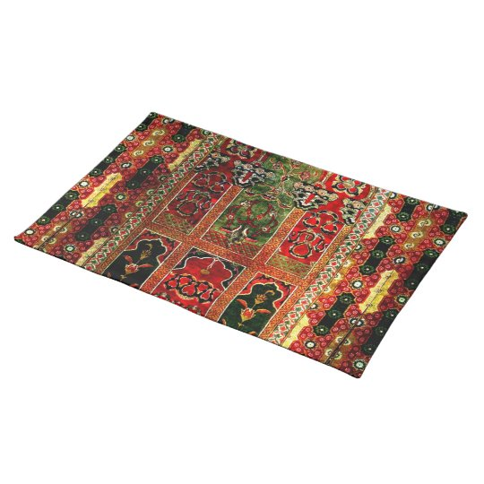 Oriental rug in red and green placemat