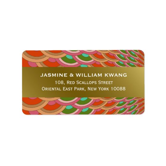 Oriental Scalloped Fan Wedding Address Labels