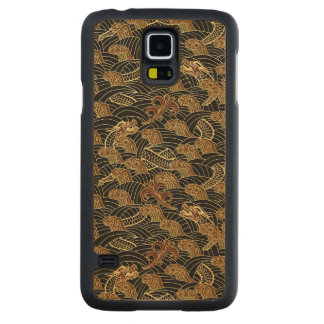 Oriental Sea Dragon Pattern Carved Maple Galaxy S5 Case