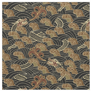 Oriental Sea Dragon Pattern Fabric