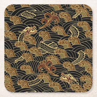 Oriental Sea Dragon Pattern Square Paper Coaster