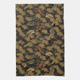 Oriental Sea Dragon Pattern Tea Towel