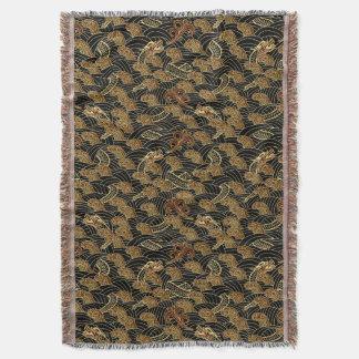 Oriental Sea Dragon Pattern Throw Blanket