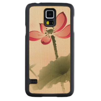 Oriental style Lotus Carved Maple Galaxy S5 Case