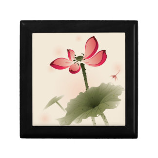 Oriental style Lotus Small Square Gift Box
