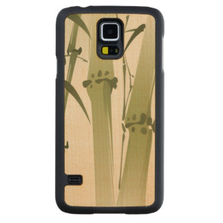 Oriental style painting, bamboo branches 2 carved maple galaxy s5 case