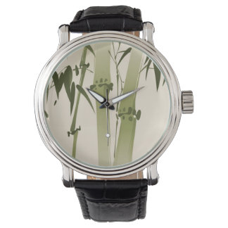 Oriental style painting, bamboo branches 2 wrist watches