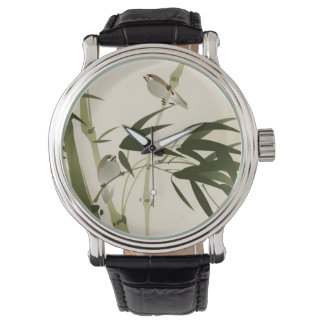 Oriental style painting, bamboo branches watch