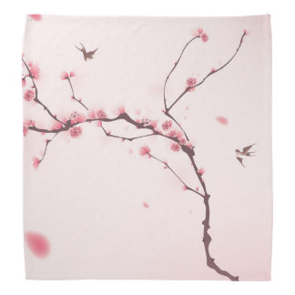 Oriental style painting, cherry blossom bandana