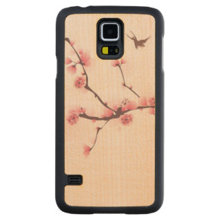 Oriental style painting, cherry blossom carved maple galaxy s5 case