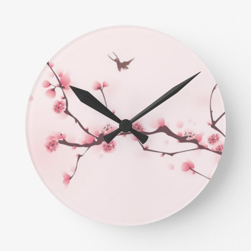 Oriental style painting, cherry blossom wallclock