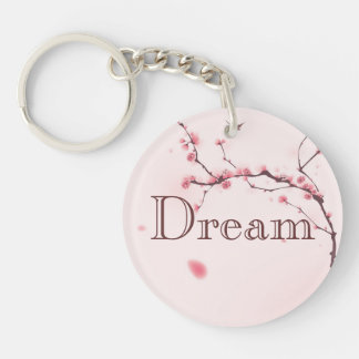 Oriental style painting, cherry blossom key ring