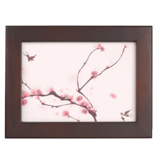 Oriental style painting, cherry blossom memory box