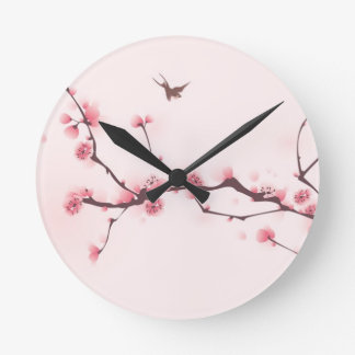 Oriental style painting, cherry blossom round clock