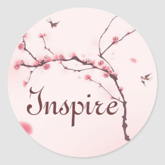 Oriental style painting, cherry blossom round sticker