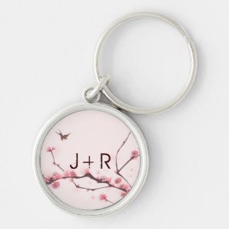 Oriental style painting, cherry blossom Silver-Colored round key ring