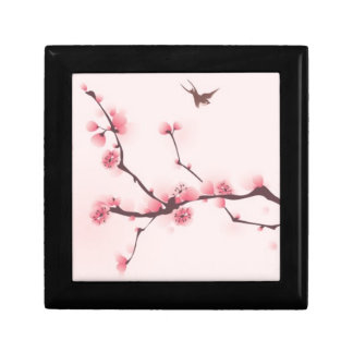 Oriental style painting, cherry blossom small square gift box