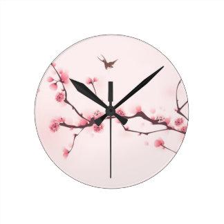 Oriental style painting, cherry blossom wallclock